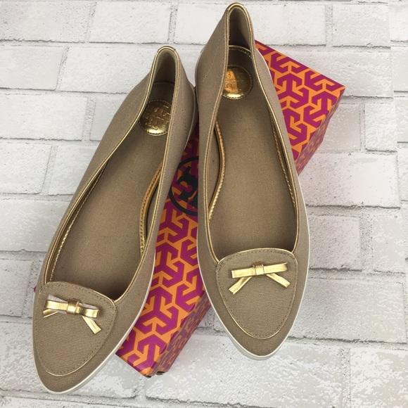 3514ef735c704 NEW Tory Burch Dakota Canvas Sneaker 10 Khaki Gold